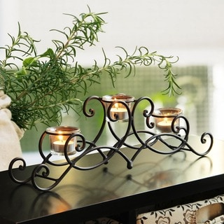 Adeco Iron Table Desktop 3-light Scroll Design Candle Holder