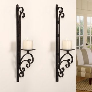 Adeco Iron Vertical Wall-hanging Scroll Design Candle Holder Sconce