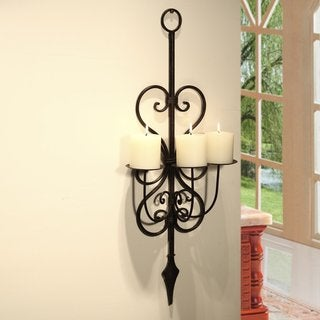 Adeco Iron Vertical Wall-hanging 3-pillar Candle Holder Sconce