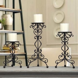 Adeco Iron Table Desk Top Candle Holders Scroll Stand (Set of 3)