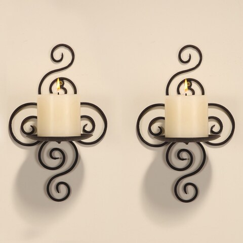 Adeco Iron Wall-hanging Candle Holder Sconce (Set of 2)