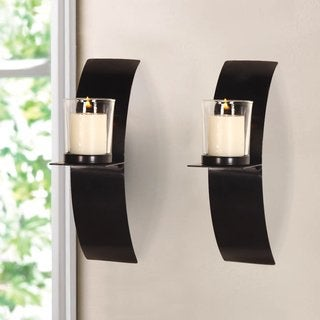 Adeco Iron and Glass Vertical Wall Hanging Minimalist Modern Style 1 Pillar Candle Holder Sconce (Set of 2)