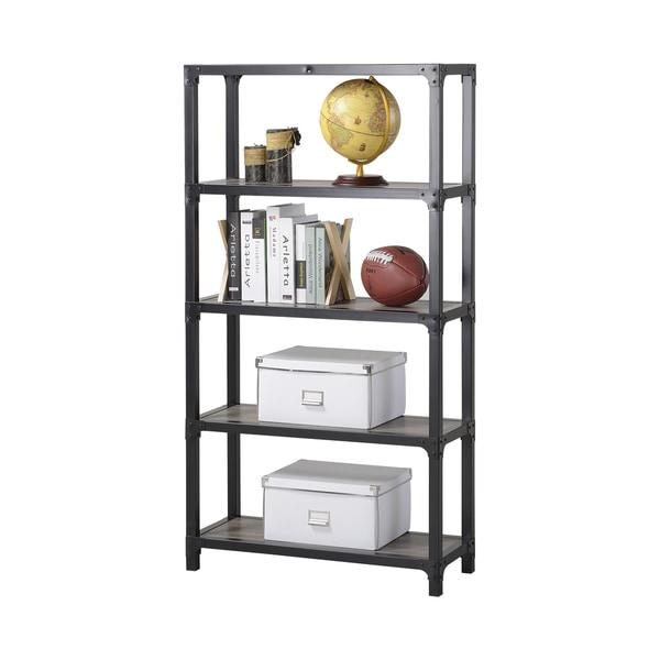 Homestar 4-Shelf Mixed Materials Bookshelf in Reclaimed Wood