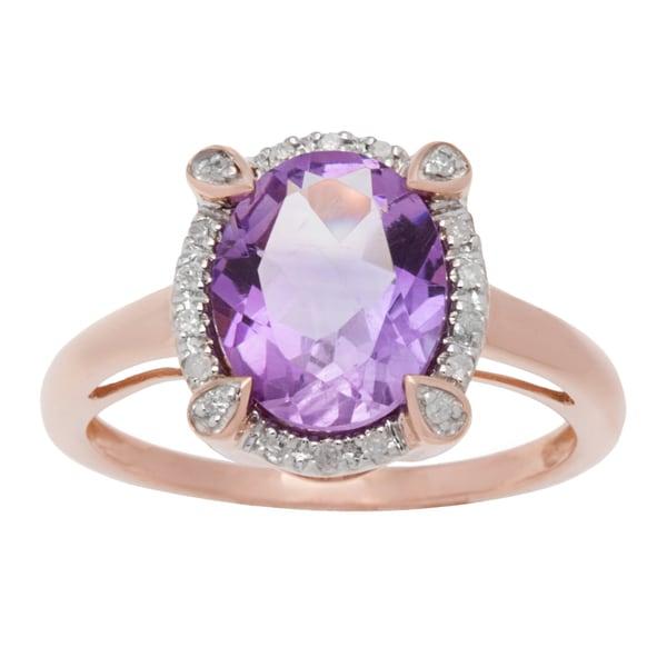 Viducci 10k Gold Oval Amethyst and 1/8ct TDW Diamond Halo Ring (G-H, I1-I2)