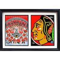2015 Stanley Cup Champions Chicago Blackhawks Logo 12x18 Double Frame