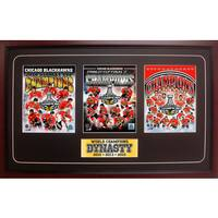 2015 Stanley Cup Champions Chicago Blackhawks 15x35 Three Photo Frame