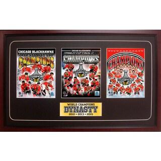 2015 Stanley Cup Champions Chicago Blackhawks 15x35 Three Photo Frame
