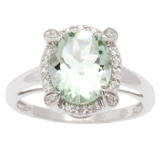 Viducci 10k Gold Oval Green Amethyst and 1/8ct TDW Diamond Halo Ring (G-H, I1-I2)