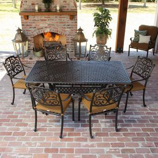 Evangeline Cast Aluminum 6-person Patio Dining Set