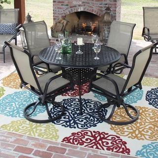Madison Bay Sling Patio 4-person Dining Set with Cast Aluminum Table