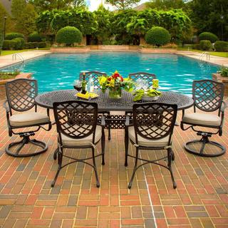 Laurel Bay 6-person Cast Aluminum Patio Dining Set with Cast Aluminum Table
