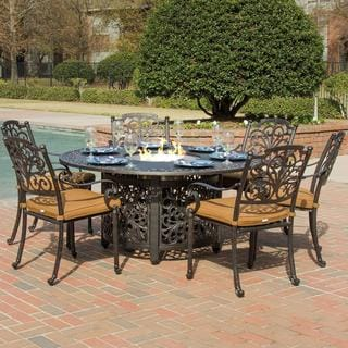 Evangeline Cast Aluminum 6-person Patio Dining Set with Fire Pit Table