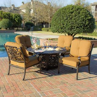 Evangeline 4-person Cast Aluminum Patio Deep Seating with Fire Pit Table