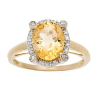 Viducci 10k Gold Oval Citrine and 1/8ct TDW Diamond Halo Ring (G-H, I1-I2)