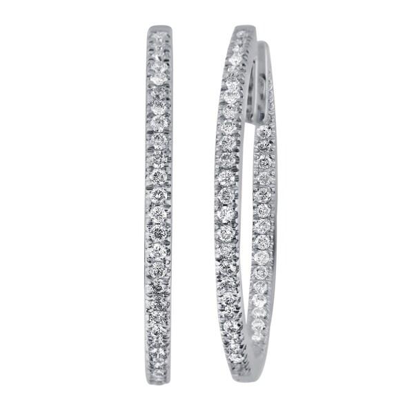 Divina 14k White Gold 1/2ct TDW Diamond Hoop Earrings