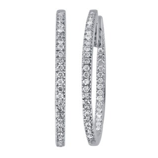 Divina 14k White Gold 1/2ct TDW Diamond Hoop Earrings (H-I, I1-I2)