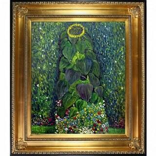Gustav Klimt 'Sunflower' Hand Painted Framed Canvas Art