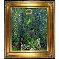 Gustav Klimt 'Sunflower' Hand Painted Framed Canvas Art