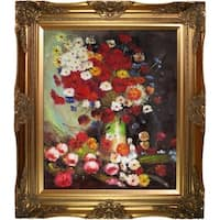 Vincent Van Gogh 'Vase with Poppies Cornflowers Peonies and Chrysanthemums' Hand Painted Framed Canvas Art