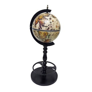 Sicilia Italian Style 15.5-inch Diameter Single Leg Floor Globe Bar - White