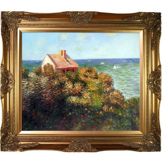 Claude Monet 'Fishermans Cottage At Varengeville' Hand Painted Framed Canvas Art