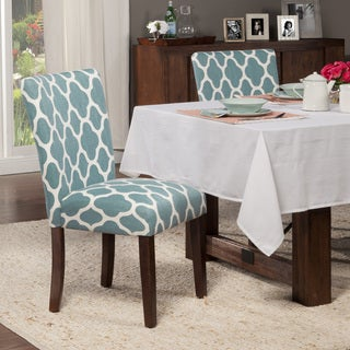 HomePop Classic Parsons Dining Chair -  Geo Brights Teal (Set of 2)