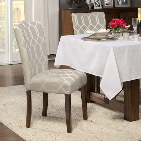 HomePop Pewter Grey Cream Lattice Elegance Parson Chairs (Set of 2)