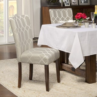 HomePop Pewter Grey Cream Lattice Elegance Parson Chairs (Set of 2)