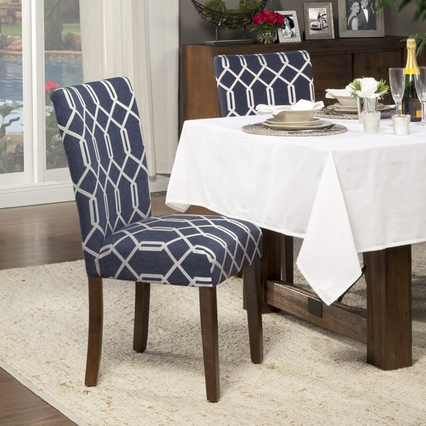 HomePop Navy Blue Silver Lattice Elegance Parson Chairs Set Of 2 Free Shi