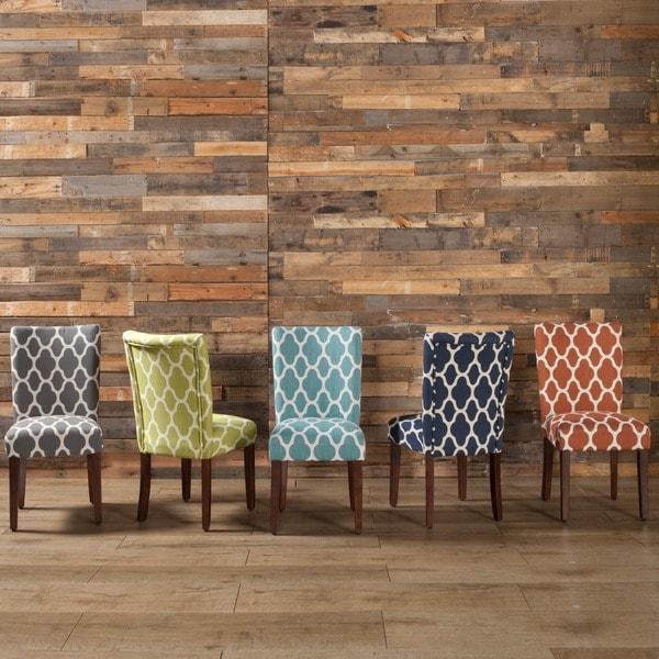 homepop navy blue silver lattice elegance parson chairs (set of 2