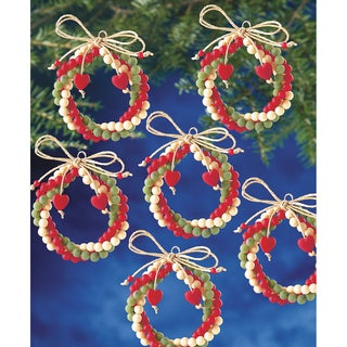Holiday Beaded Ornament Kit Folk Wreaths 2.5in Makes 12