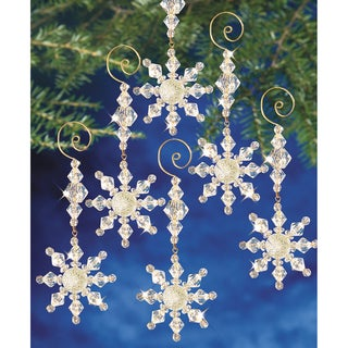 Holiday Beaded Ornament Kit Snow Crystal Danglers 4inX2in Makes 8