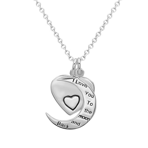La Preciosa Sterling Silver 'I Love You to the Moon and Back' Heart and Moon Necklace