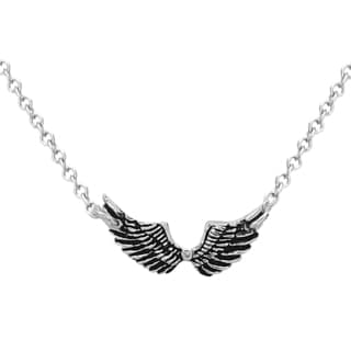 La Preciosa Sterling Silver Oxidized Angel Wings Necklace