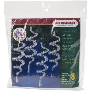Holiday Beaded Ornament Kit Crystal Spirals 6.5in Makes 8