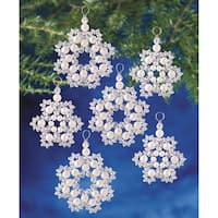 Holiday Beaded Ornament Kit Crystal & Pearl Snowflakes 2.5in Makes 12