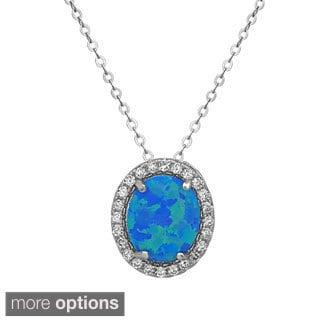 La Preciosa Sterling Silver Opal and Cubic Zirconia Oval Pendant