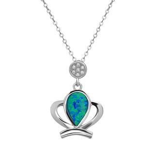 La Preciosa Sterling Silver Blue Opal and Cubic Zirconia Pendant