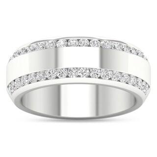 De Couer IGI Certified 14k Gold 7/8ct TDW Diamond Men's Exquisite Wedding Band - white gold
