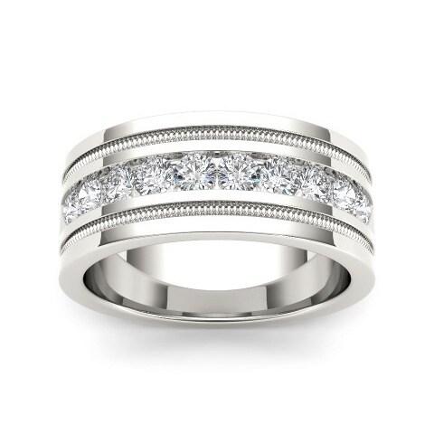 De Couer Mens 14k White Gold 1 110ct TDW Diamond Wedding Band