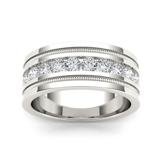 De Couer Men's 14k White Gold 1 1/10ct TDW Diamond Wedding Band (H-I, I2)