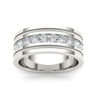 De Couer IGI Certified Men's 14k White Gold 1 1/10ct TDW Diamond Wedding Band