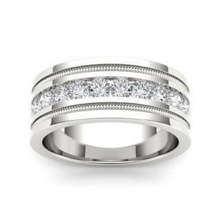 de couer mens 14k white gold 1 110ct tdw diamond wedding band - Overstock Wedding Rings