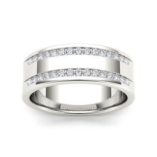 De Couer 14k White Gold 1/2ct TDW Diamond Men's Wedding Band