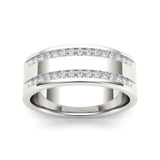 De Couer 14k White Gold 1/2ct TDW Diamond Men's Wedding Band