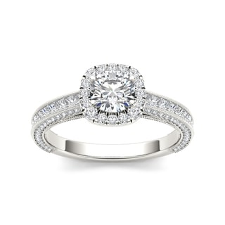 De Couer 14k White Gold 1 1 2ct TDW Diamond Vintage Halo Engagement Ring White H I