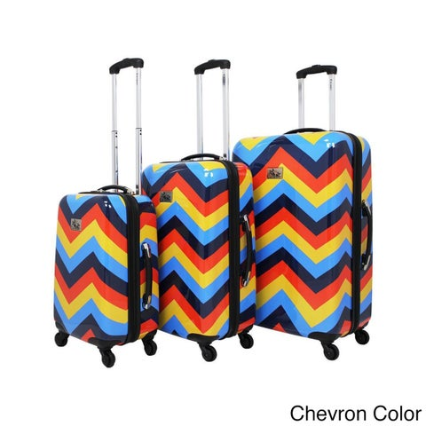 Chariot Chevron 3-Piece Hardside Lightweight Expandable Upright Spinner Luggage Set