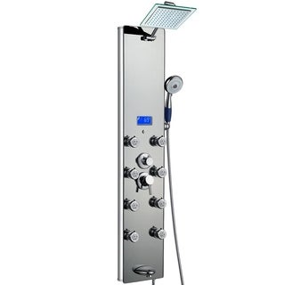AKDY 51-inch Mirror Aluminum Shower Panel with Tower Massage Spa System Kits Rainfall Shower Head