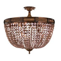 French Empire Basket Style Collection 24 in. D x 20 in. H Antique Bronze Finish Golden Teak Crystal Flush Mount