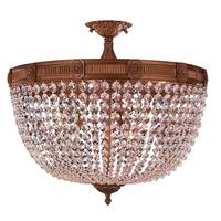 French Empire Basket Style Collection 9-light French Gold Finish and Crystal 24-inch Semi-flush Mount Ceiling Light